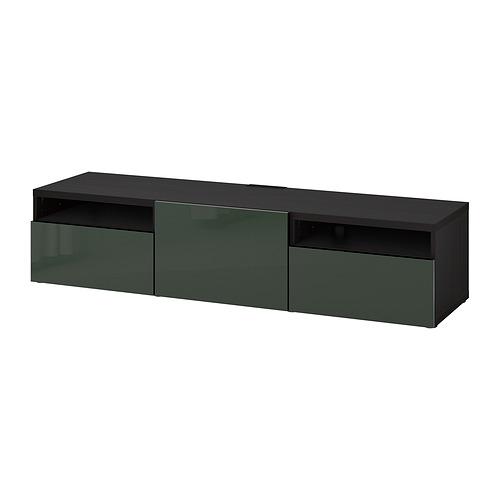 BESTÅ - 電視几連抽屜/門, black-brown/Selsviken dark olive-green   IKEA 香港及澳門 - PE818238_S4