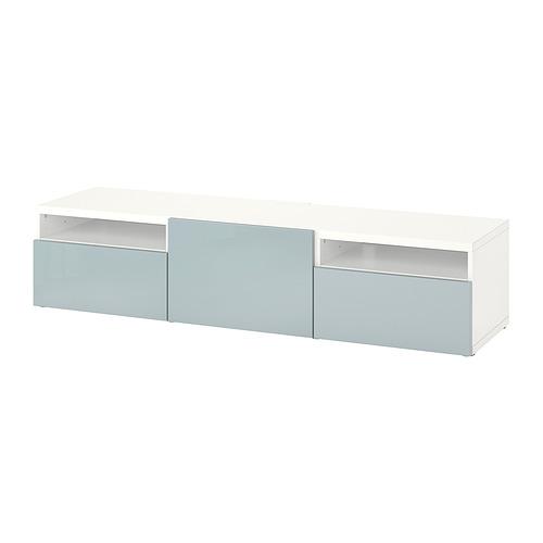 BESTÅ - 電視几連抽屜/門, white/Selsviken light grey-blue | IKEA 香港及澳門 - PE818242_S4