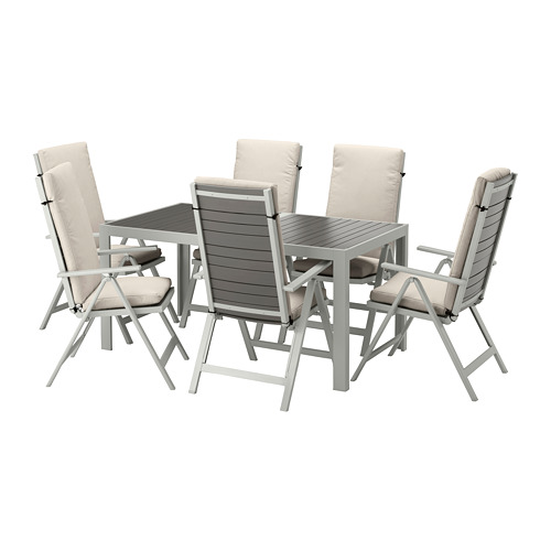 SJÄLLAND table+6 reclining chairs, outdoor