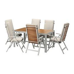 SJÄLLAND - table+6 reclining chairs, outdoor, light brown/Frösön/Duvholmen beige | IKEA Hong Kong and Macau - PE673273_S3