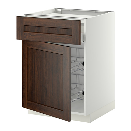 METOD/MAXIMERA - base cab f hob/drawer/2 wire bskts, white/Edserum brown | IKEA Hong Kong and Macau - PE342256_S4