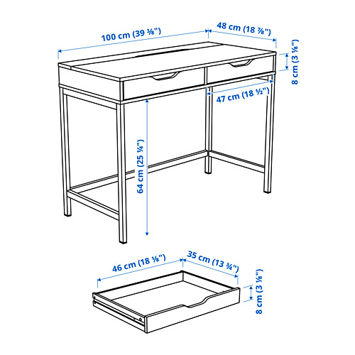 ALEX - desk, 100x48cm, white stained/oak effect | IKEA Hong Kong and Macau - PE818402_S4