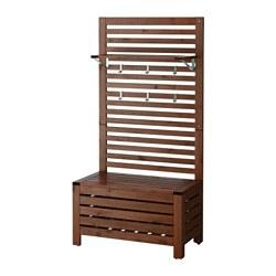 ÄPPLARÖ - bench w wall panel+ shelf, outdoor, brown stained | IKEA Hong Kong and Macau - PE424687_S3