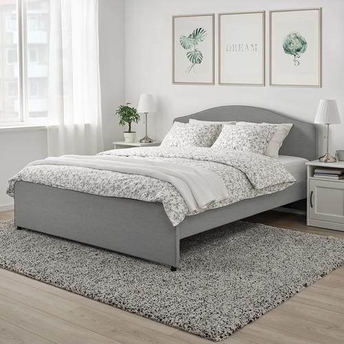 HAUGA - upholstered bed frame, Vissle grey, DOUBLE | IKEA Hong Kong and Macau - PE764317_S4