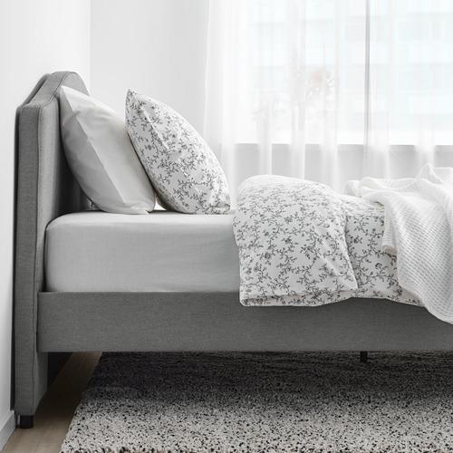 HAUGA - upholstered bed frame, Vissle grey, DOUBLE | IKEA Hong Kong and Macau - PE764322_S4