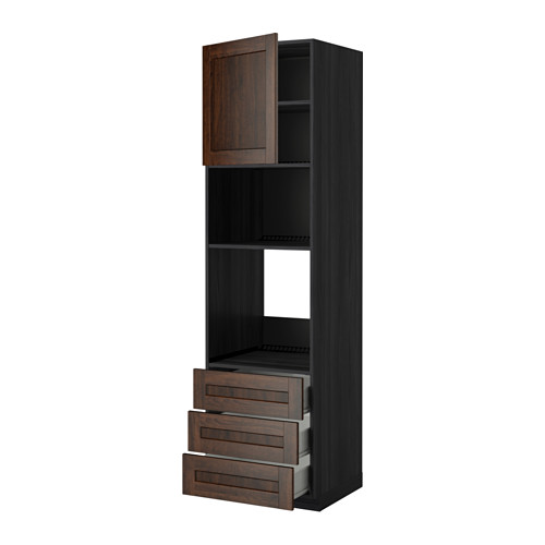 METOD - 微波爐/焗爐用高櫃連抽屜櫃門組合, 黑色 Förvara/Edserum 褐色   IKEA 香港及澳門 - PE342496_S4