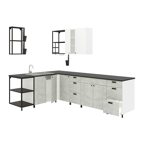 ENHET - 角位廚房, 炭黑色/仿混凝土 白色   IKEA 香港及澳門 - PE818486_S4