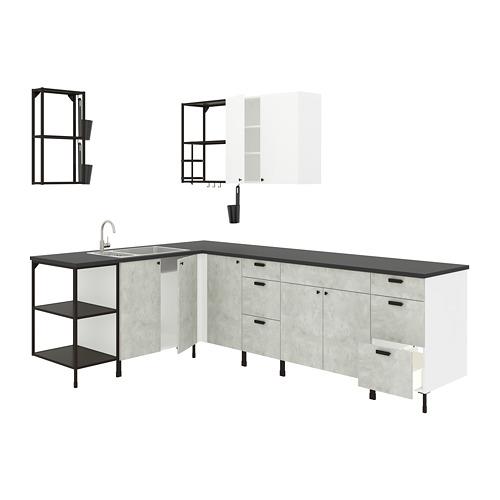 ENHET - 角位廚房, 炭黑色/仿混凝土 白色 | IKEA 香港及澳門 - PE818487_S4