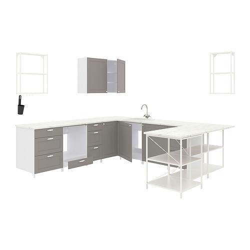 ENHET - 角位廚房, 白色/灰色 框架   IKEA 香港及澳門 - PE818492_S4