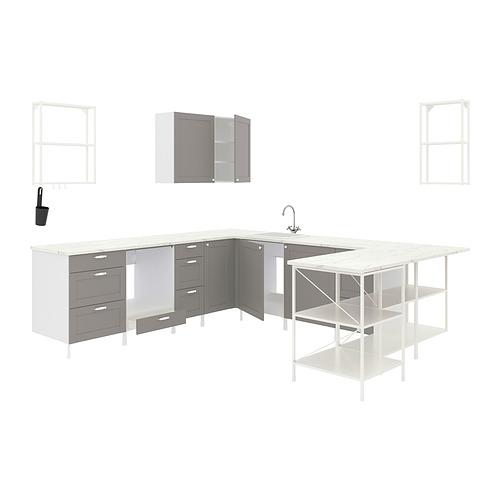 ENHET - 角位廚房, 白色/灰色 框架 | IKEA 香港及澳門 - PE818491_S4