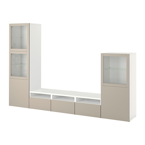 BESTÅ - 電視貯物組合/玻璃門, white Sindvik/Lappviken light grey/beige | IKEA 香港及澳門 - PE818525_S4