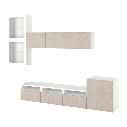 BESTÅ - 電視貯物組合/玻璃門, white Glassvik/Bergsviken beige   IKEA 香港及澳門 - PE818537_S4
