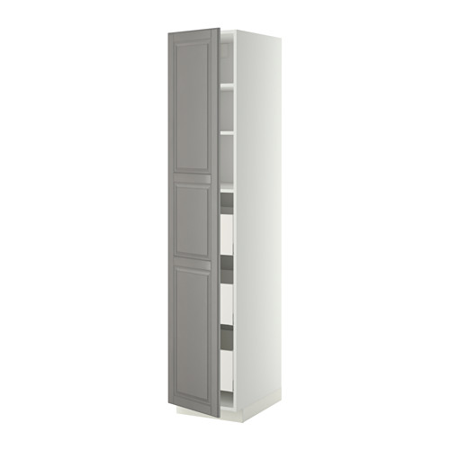 METOD/MAXIMERA - high cabinet with drawers, white/Bodbyn grey | IKEA Hong Kong and Macau - PE342666_S4