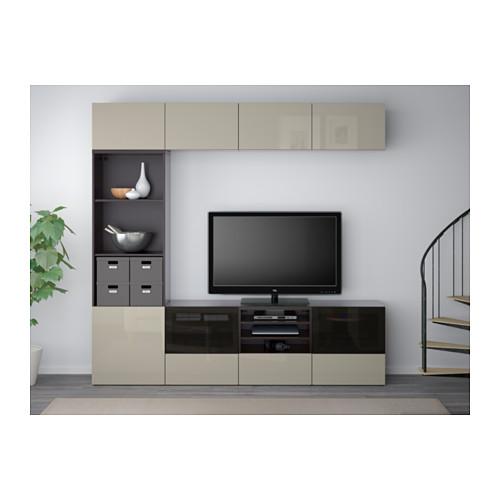 BESTÅ - 電視貯物組合/玻璃門, 棕黑色/Selsviken 光面/米色 茶色玻璃 | IKEA 香港及澳門 - PE559646_S4
