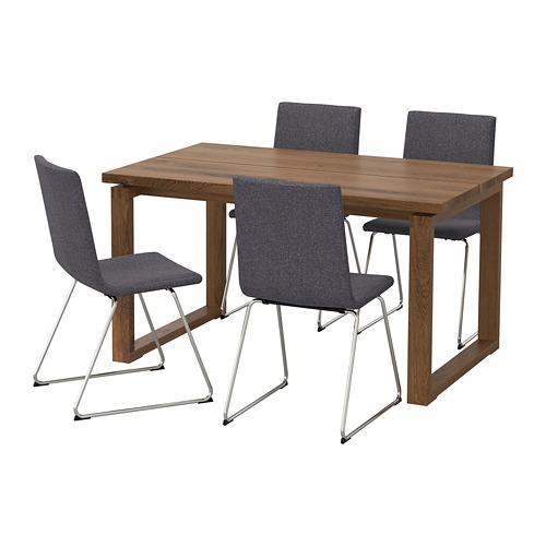 VOLFGANG/MÖRBYLÅNGA - table and 4 chairs, brown/Gunnared medium grey | IKEA Hong Kong and Macau - PE673459_S4