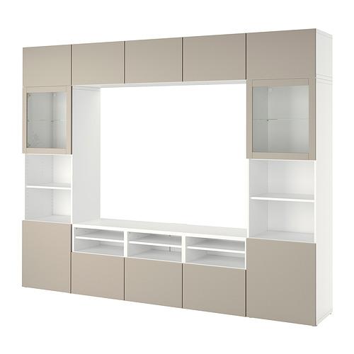 BESTÅ - 電視貯物組合/玻璃門, white Sindvik/Lappviken light grey/beige   IKEA 香港及澳門 - PE818572_S4