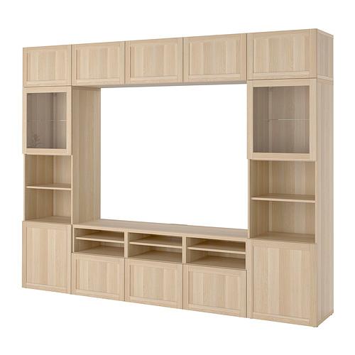 BESTÅ - 電視貯物組合/玻璃門, white stained oak effect Sindvik/Hanviken white stained oak eff clear glass | IKEA 香港及澳門 - PE818574_S4