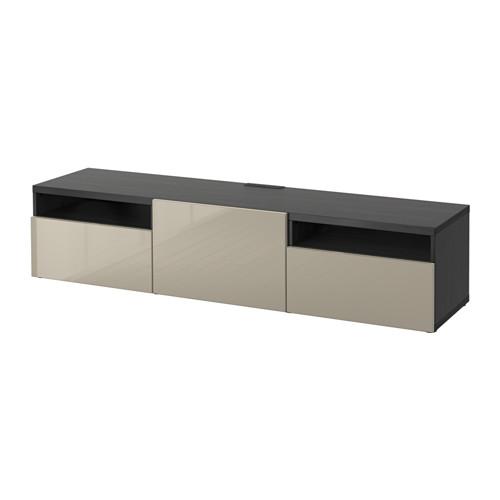 BESTÅ - TV bench, black-brown/Selsviken high-gloss/beige   IKEA Hong Kong and Macau - PE559644_S4