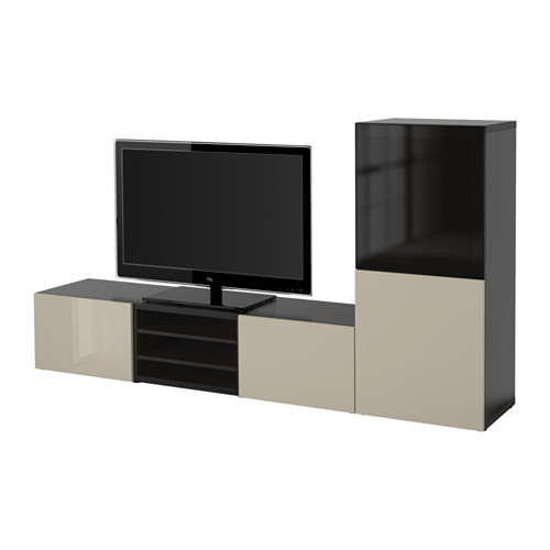 BESTÅ - TV storage combination/glass doors, black-brown/Selsviken high-gloss/beige smoked glass | IKEA Hong Kong and Macau - PE559633_S4