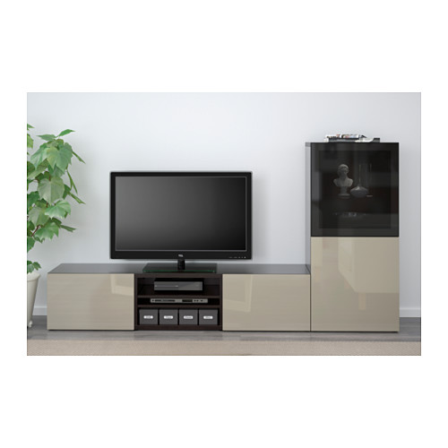 BESTÅ - TV storage combination/glass doors, black-brown/Selsviken high-gloss/beige smoked glass | IKEA Hong Kong and Macau - PE559632_S4