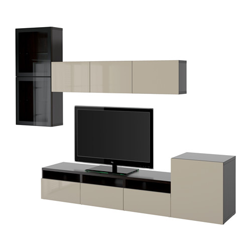 BESTÅ - TV storage combination/glass doors, black-brown/Selsviken high-gloss/beige clear glass | IKEA Hong Kong and Macau - PE559617_S4