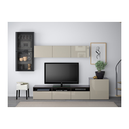 BESTÅ - TV storage combination/glass doors, black-brown/Selsviken high-gloss/beige clear glass | IKEA Hong Kong and Macau - PE559618_S4