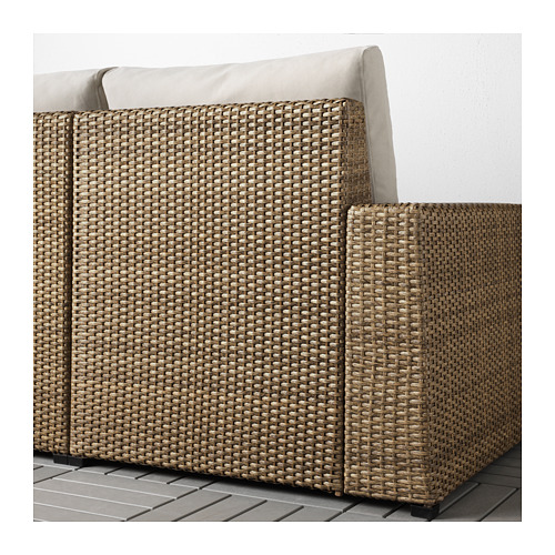 SOLLERÖN - modular corner sofa 4-seat, outdoor, with footstool brown/Frösön/Duvholmen beige | IKEA Hong Kong and Macau - PE673489_S4
