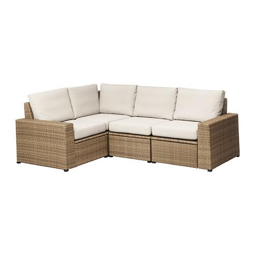 SOLLERÖN - modular corner sofa 3-seat, outdoor, brown/Frösön/Duvholmen beige | IKEA Hong Kong and Macau - PE673493_S4