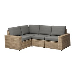 SOLLERÖN - modular corner sofa 3-seat, outdoor, brown/Frösön/Duvholmen dark grey | IKEA Hong Kong and Macau - PE673494_S3