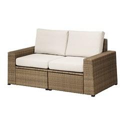 SOLLERÖN - 2-seat modular sofa, outdoor, brown/Frösön/Duvholmen beige | IKEA Hong Kong and Macau - PE673500_S3