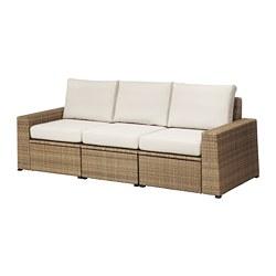 SOLLERÖN - 3-seat modular sofa, outdoor, brown/Frösön/Duvholmen beige | IKEA Hong Kong and Macau - PE673502_S3