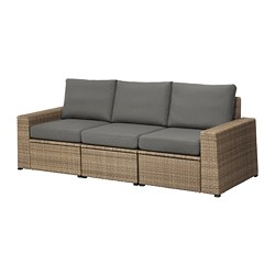 SOLLERÖN - 3-seat modular sofa, outdoor, brown/Frösön/Duvholmen dark grey | IKEA Hong Kong and Macau - PE673506_S3