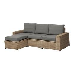 SOLLERÖN - 3-seat modular sofa, outdoor, with footstool brown/Frösön/Duvholmen dark grey | IKEA Hong Kong and Macau - PE673510_S3