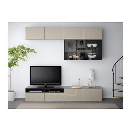 BESTÅ - TV storage combination/glass doors, black-brown/Selsviken high-gloss/beige clear glass | IKEA Hong Kong and Macau - PE559614_S4