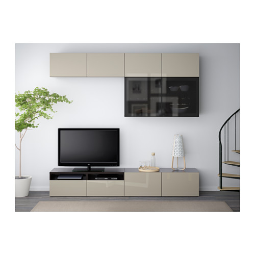 BESTÅ - TV storage combination/glass doors, black-brown/Selsviken high-gloss/beige smoked glass | IKEA Hong Kong and Macau - PE559616_S4