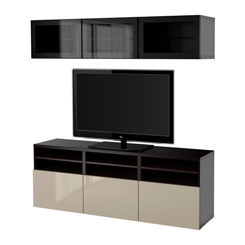 BESTÅ - TV storage combination/glass doors, black-brown/Selsviken high-gloss/beige clear glass | IKEA Hong Kong and Macau - PE559595_S4