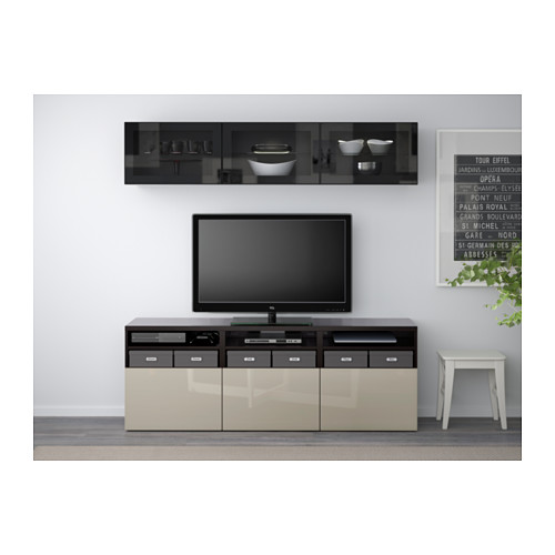 BESTÅ - TV storage combination/glass doors, black-brown/Selsviken high-gloss/beige clear glass | IKEA Hong Kong and Macau - PE559600_S4