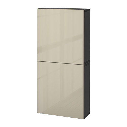 BESTÅ - 雙門吊櫃, 棕黑色/Selsviken 光面/米黃色   IKEA 香港及澳門 - PE559592_S4