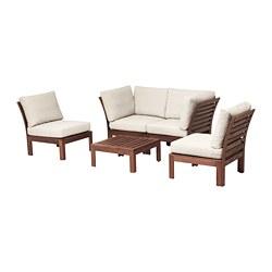 ÄPPLARÖ - 4-seat conversation set, outdoor, brown stained/Frösön/Duvholmen beige | IKEA Hong Kong and Macau - PE673553_S3