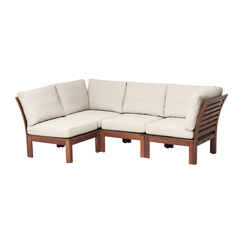 ÄPPLARÖ - modular corner sofa 3-seat, outdoor, brown stained/Frösön/Duvholmen beige | IKEA Hong Kong and Macau - PE673567_S4