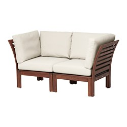ÄPPLARÖ - 2-seat modular sofa, outdoor, brown stained/Frösön/Duvholmen beige | IKEA Hong Kong and Macau - PE673577_S3