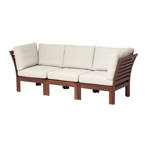 ÄPPLARÖ - 3-seat modular sofa, outdoor, brown stained/Frösön/Duvholmen beige | IKEA Hong Kong and Macau - PE673591_S4