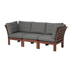 ÄPPLARÖ - 3-seat modular sofa, outdoor, brown stained/Frösön/Duvholmen dark grey | IKEA Hong Kong and Macau - PE673590_S3