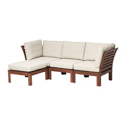 ÄPPLARÖ - 3-seat modular sofa, outdoor, with footstool brown stained/Frösön/Duvholmen beige | IKEA Hong Kong and Macau - PE673597_S3