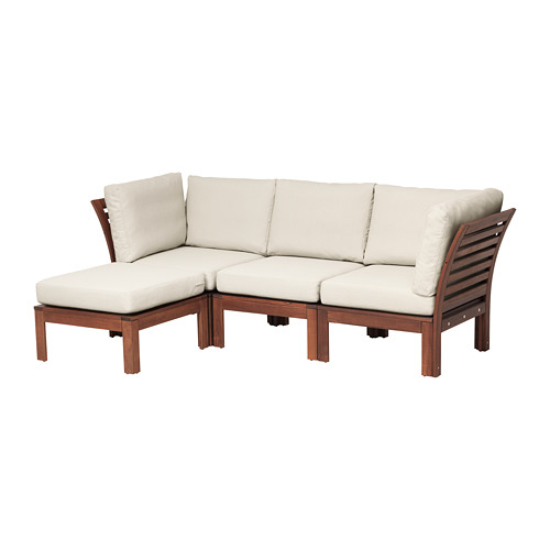 ÄPPLARÖ - 3-seat modular sofa, outdoor, with footstool brown stained/Frösön/Duvholmen beige | IKEA Hong Kong and Macau - PE673597_S4