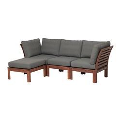 ÄPPLARÖ - 戶外三座位組合式梳化, 附腳凳 染褐色/Frösön/Duvholmen 深灰色 | IKEA 香港及澳門 - PE673596_S3