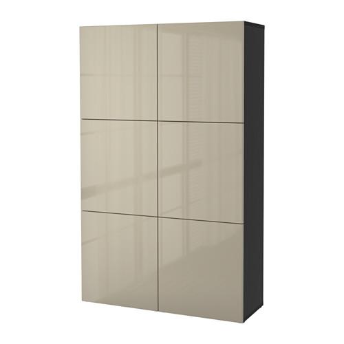 BESTÅ - storage combination with doors, black-brown/Selsviken high-gloss/beige   IKEA Hong Kong and Macau - PE559569_S4