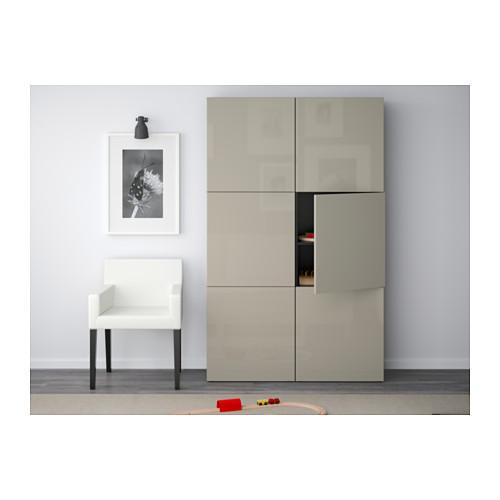 BESTÅ - storage combination with doors, black-brown/Selsviken high-gloss/beige   IKEA Hong Kong and Macau - PE559568_S4