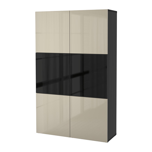BESTÅ - storage combination w glass doors, black-brown/Selsviken high-gloss/beige smoked glass | IKEA Hong Kong and Macau - PE559566_S4