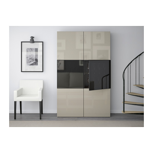 BESTÅ - storage combination w glass doors, black-brown/Selsviken high-gloss/beige smoked glass | IKEA Hong Kong and Macau - PE559564_S4